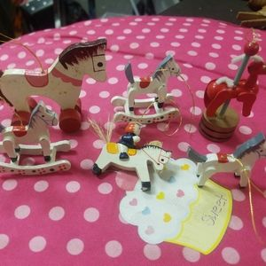6 Vintage Christmas Ornaments Rocking Hobby Horse